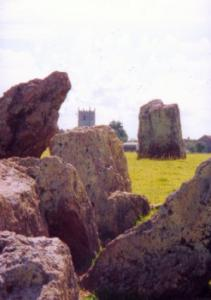 Stanton Drew Stone Circle (church in background)